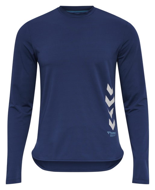hmlMARLEY T-SHIRT L/S, MEDIEVAL BLUE, packshot