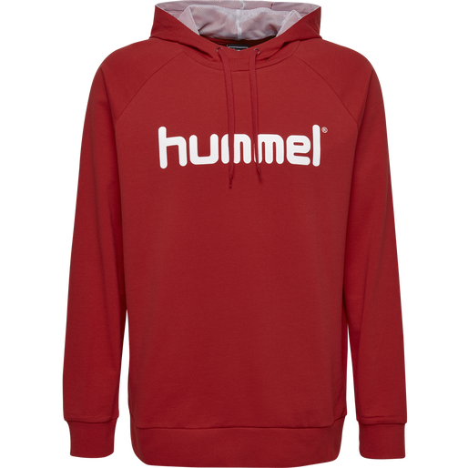 HUMMEL GO COTTON LOGO HOODIE, TRUE RED, packshot