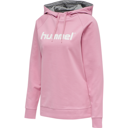 HUMMEL GO COTTON LOGO HOODIE WOMAN, COTTON CANDY, packshot