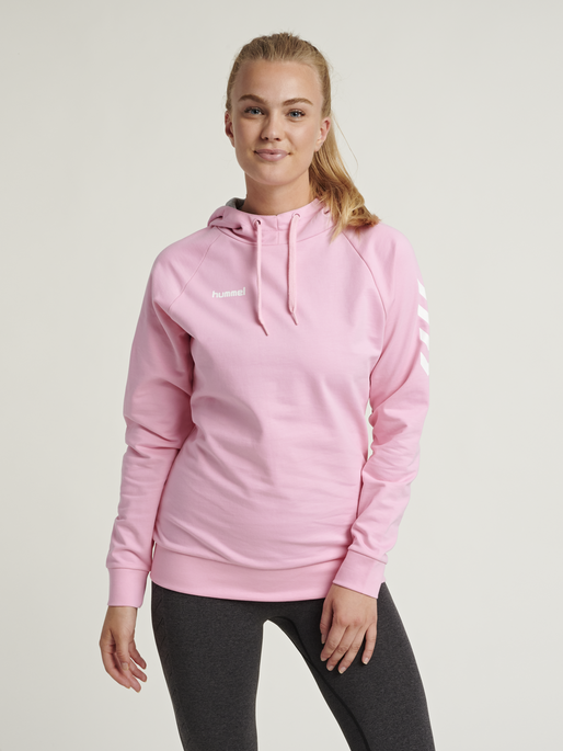 HUMMEL GO COTTON HOODIE WOMAN, COTTON CANDY, model