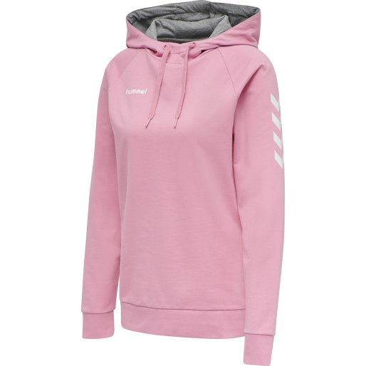 HUMMEL GO COTTON HOODIE WOMAN, COTTON CANDY, packshot