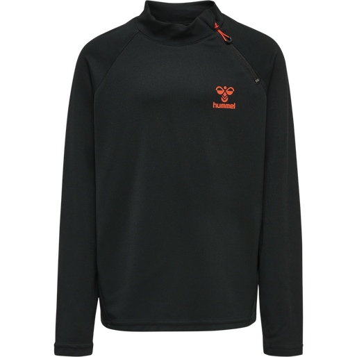 hmlACTION HALF ZIP SWEAT KIDS, BLACK/FIESTA, packshot