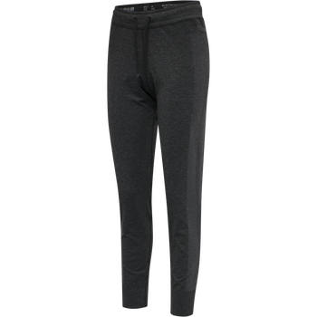 hmlIVY SEAMLESS TAPERED PANTS, BLACK MELANGE, packshot