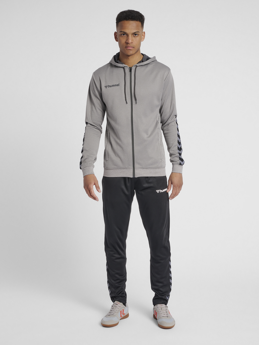 hmlAUTHENTIC POLY ZIP HOODIE, GREY MELANGE, model