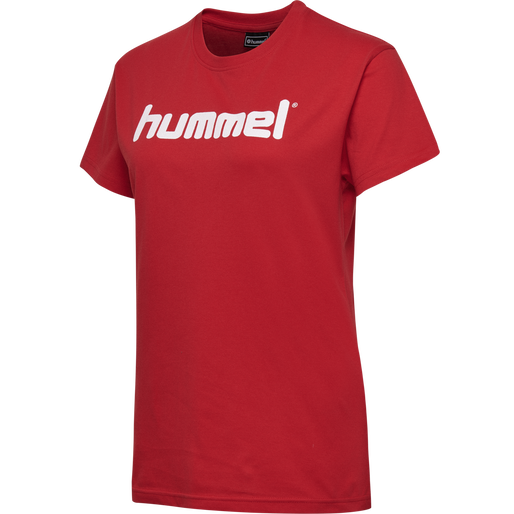 HUMMEL GO COTTON LOGO T-SHIRT WOMAN S/S, TRUE RED, packshot