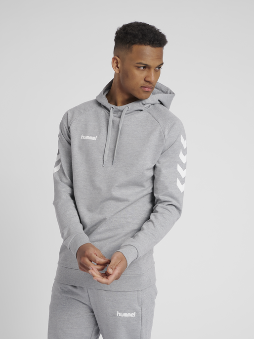 HUMMEL GO COTTON HOODIE, GREY MELANGE, model