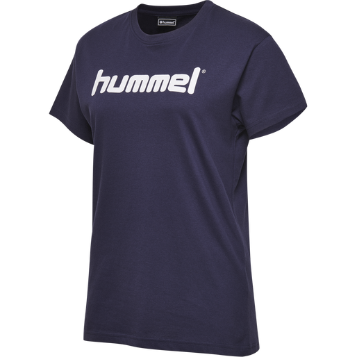 HUMMEL GO COTTON LOGO T-SHIRT WOMAN S/S, MARINE, packshot