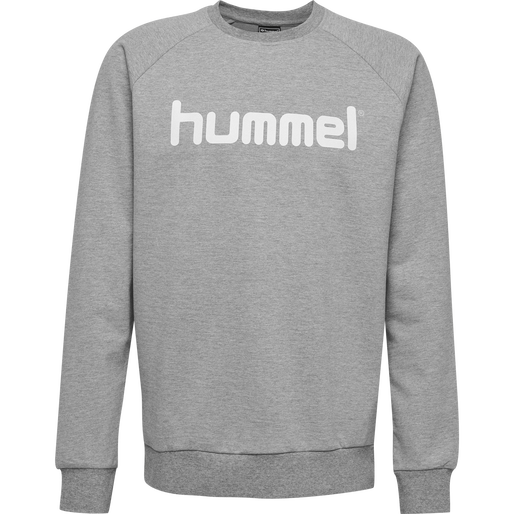 HUMMEL GO COTTON LOGO SWEATSHIRT, GREY MELANGE, packshot