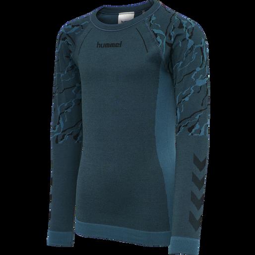 hmlSPUN SEAMLESS T-SHIRT L/S, BLUE CORAL, packshot