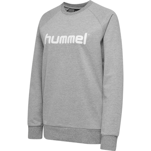 HUMMEL GO COTTON LOGO SWEATSHIRT WOMAN, GREY MELANGE, packshot