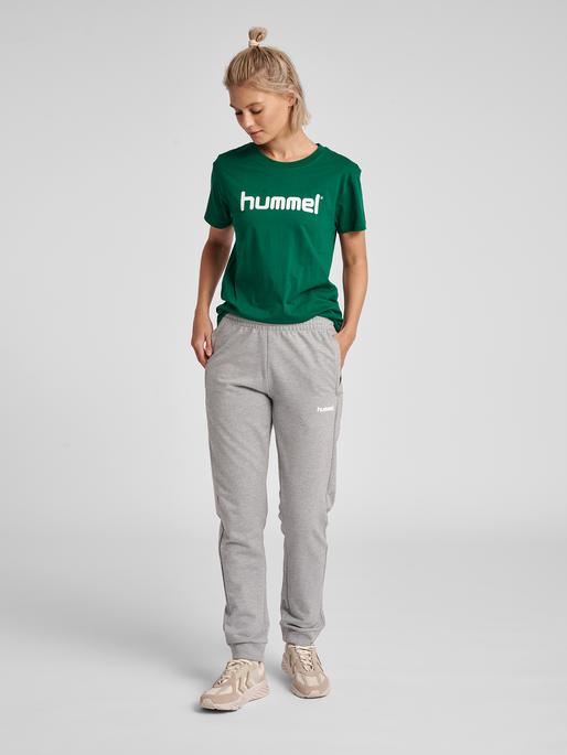 HUMMEL GO COTTON LOGO T-SHIRT WOMAN S/S, EVERGREEN, model