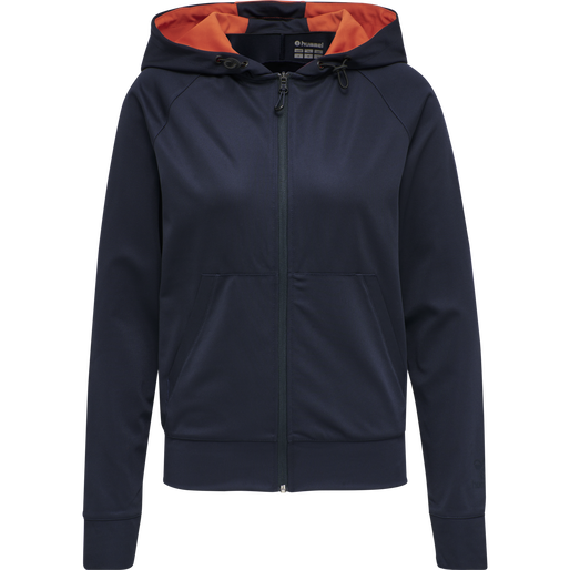 hmlACTION ZIP HOODIE WOMAN, DARK SAPPHIRE/FIESTA, packshot