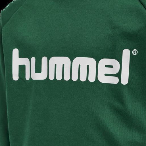 HUMMEL GO KIDS COTTON LOGO HOODIE, EVERGREEN, packshot