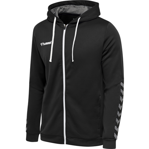 hmlAUTHENTIC KIDS  POLY ZIP HOODIE, BLACK/WHITE, packshot