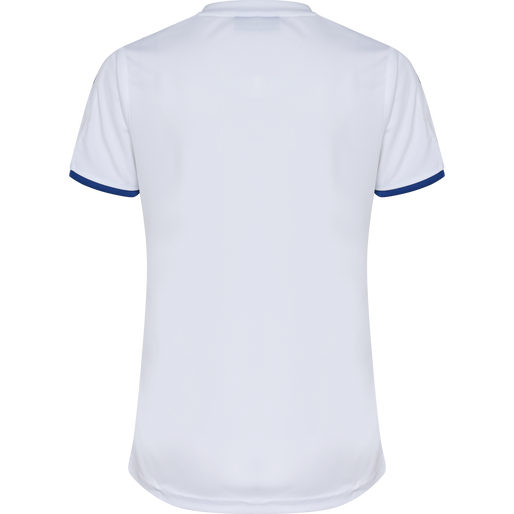 CORE WOMENS SS JERSEY, WHITE/TRUE BLUE PR, packshot