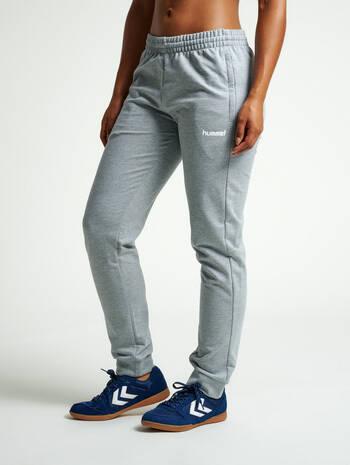 HUMMEL GO COTTON PANTS WOMAN, GREY MELANGE, model