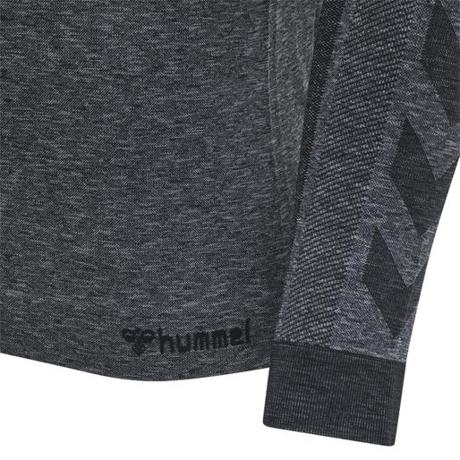 hmlKENT SEAMLESS T-SHIRT L/S, BLACK MELANGE, packshot
