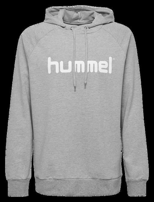 HUMMEL GO COTTON LOGO HOODIE, GREY MELANGE, packshot