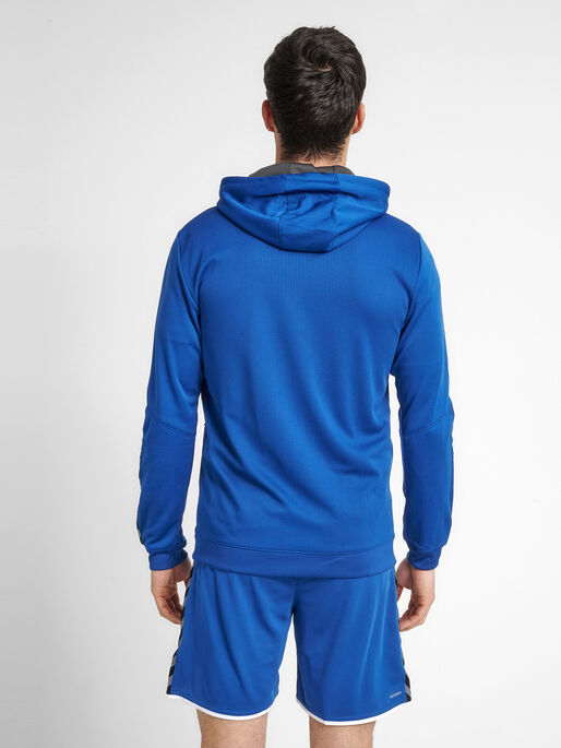 hmlAUTHENTIC POLY ZIP HOODIE, TRUE BLUE, model