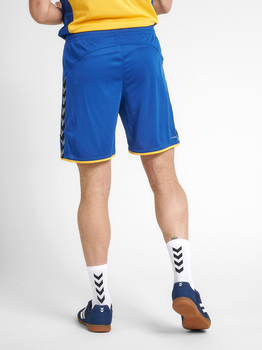 hmlAUTHENTIC POLY SHORTS, TRUE BLUE/SPORTS YELLOW, model