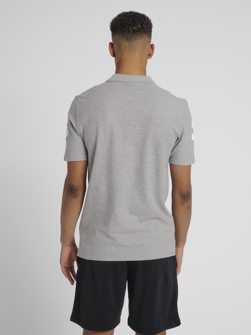 HUMMEL GO COTTON POLO, GREY MELANGE, model
