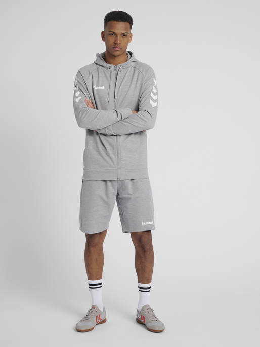 HUMMEL GO COTTON ZIP HOODIE, GREY MELANGE, model