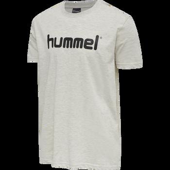HUMMEL GO COTTON LOGO T-SHIRT S/S, EGRET MELANGE, packshot