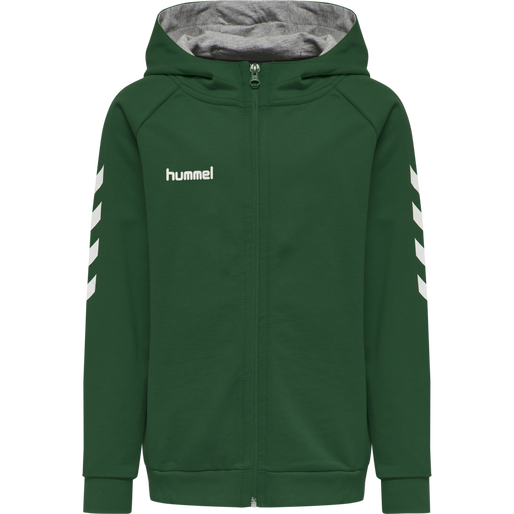 HUMMEL GO KIDS COTTON ZIP HOODIE, EVERGREEN, packshot