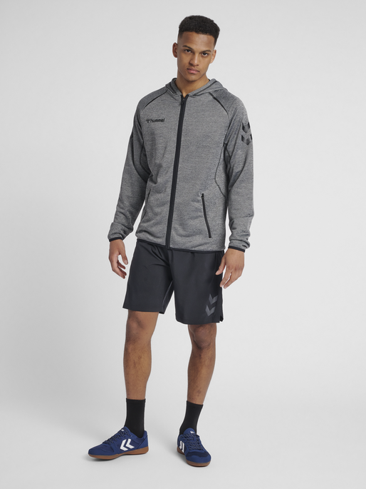 hmlAUTHENTIC PRO ZIP HOODIE, GREY MELANGE, model