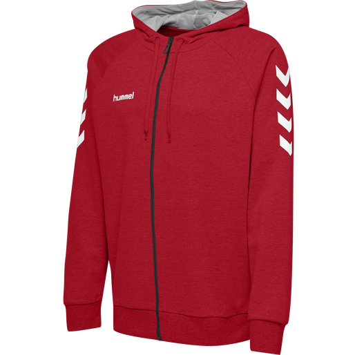 HUMMEL GO KIDS COTTON ZIP HOODIE, TRUE RED, packshot