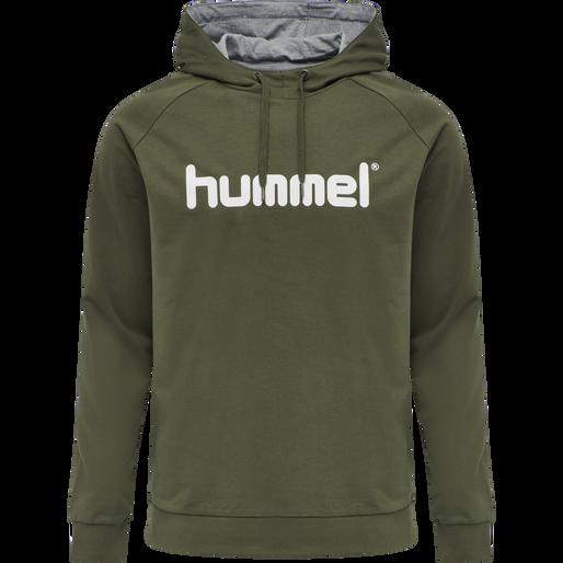 HUMMEL GO COTTON LOGO HOODIE, GRAPE LEAF, packshot