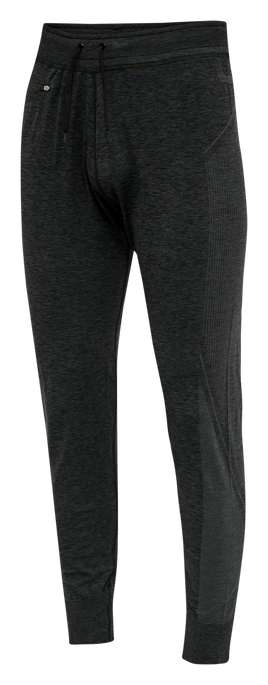 hmlCREW SEAMLESS TAPERED PANTS, BLACK MELANGE, packshot