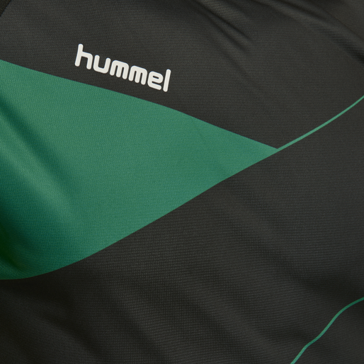 HUMMEL COURT JERSEY S/S, BLACK/GOLF GREEN, packshot
